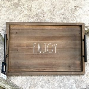 Rae Dunn ENJOY Wooden Tray with Metal Handle